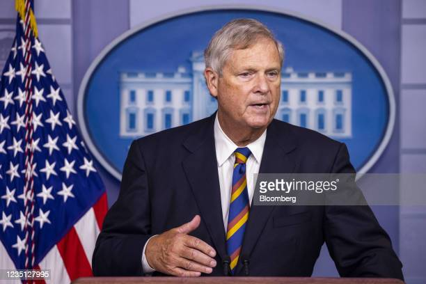 Tom Vilsack, U.S. Secretary of agriculture, speaks during a news conference in the James S. Brady Press Briefing Room at the White House in...