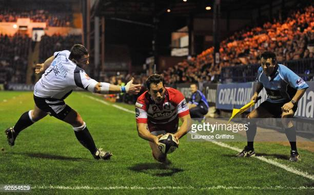 Tom Voyce of Gloucester scores a try during the Guinness Premiership Match between Sale Sharks and Gloucester at Edgeley Park on October 30, 2009 in...