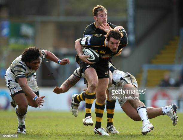 Tom Voyce of Wasps makes a break during the Guiness Premiership match between London Wasps and Bristol Rugby at Adams Park on March 22, 2009 in High...