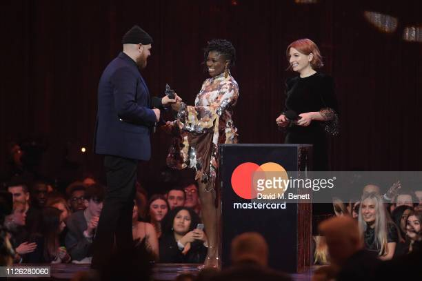 Tom Walker accepts the British Breakthrough award from Clara Amfo and Alice Levine at The BRIT Awards 2019 held at The O2 Arena on February 20 2019...