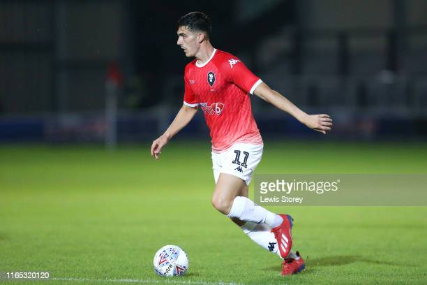 Tom Walker of Salford City during the Pre-Season Friendly match between Salford City and Woking at Moor Lane on July 19, 2019 in Salford, England.
