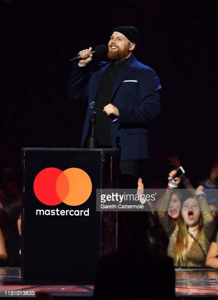 Tom Walker with his Radio 1 British Break Through Act during The BRIT Awards 2019 held at The O2 Arena on February 20 2019 in London England