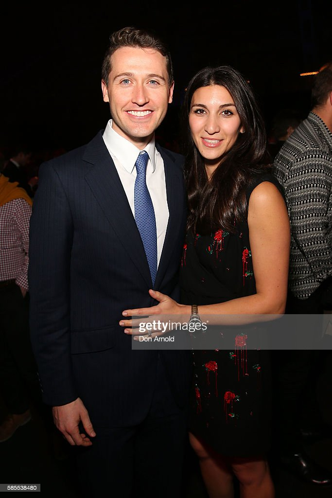 Tom Waterhouse and Hoda Vakili pose during the After Party following the David Jones Spring/Summer 2016 Fashion Launch at Fox Studios on August 3, 2016 in Sydney, Australia.