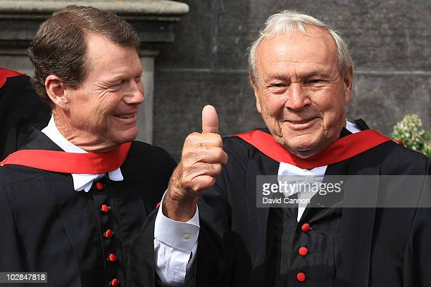 Tom Watson and Arnold Palmer receive Honorary Degrees from Scotland's oldest university University of St Andrews prior to the 139th Open Championship...