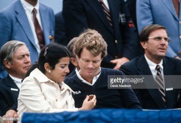 Tom Watson and his wife Linda Rubin Watson admire a medallion during the awards ceremony for the 1982 US Open on June 20 1982 in Pebble Beach...