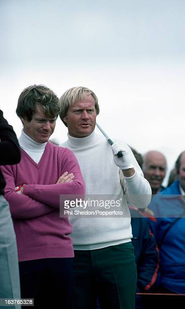 Tom Watson and Jack Nicklaus of the United States during the British Open Golf Championship held at the Muirfield Golf Club in Gullane Scotland circa...