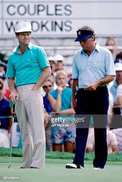 Tom Watson and Lanny Wadkins during the 67th PGA Championship held at Cherry Hills Country Club in Englewood Colorado August 811 1985