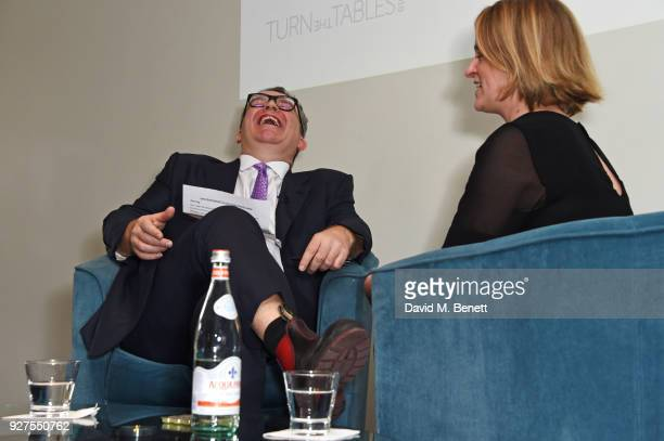 Tom Watson, Deputy Leader of the Labour Party, and Laura Kuenssberg attend Turn The Tables 2018 hosted by Tania Bryer and James Landale in aid of...