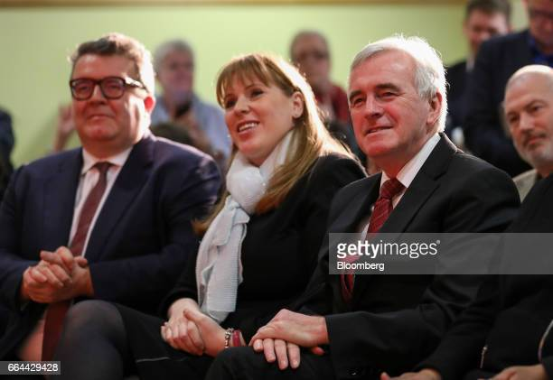 Tom Watson deputy leader of the UK opposition Labour Party left sits next to Angela Rayner education spokesman and John McDonnell finance spokesman...