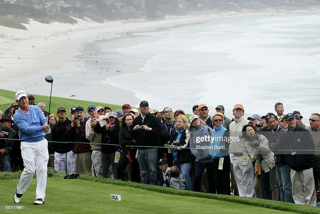 Tom Watson hits a shot during a practice round prior to the start of the 110th U.S. Open at Pebble Beach Golf Links on June 15, 2010 in Pebble Beach, California.