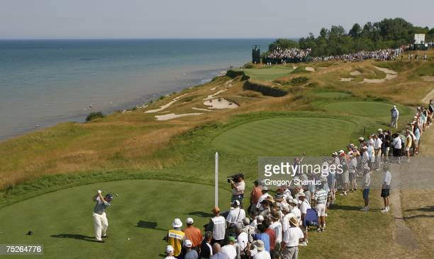 Tom Watson hits his tee shot on the 17th hole during the third round of the United States Senior Open at Whistling Straits July 7 2007 in Kohler...