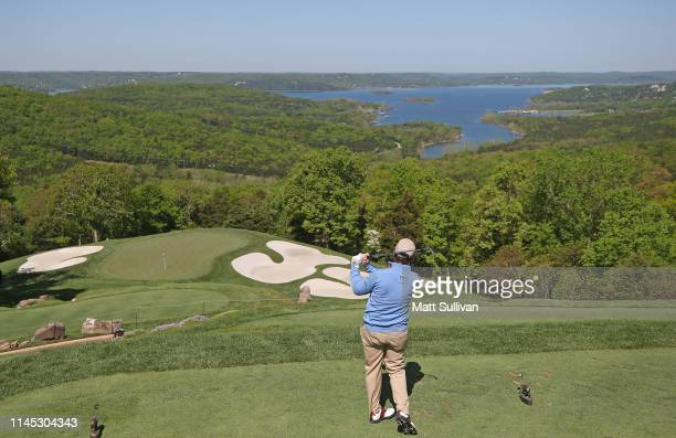 Tom Watson hits his tee shot on the second hole during the first round of the PGA TOUR Champions Bass Pro Shops Legends of Golf at Big Cedar Lodge on...