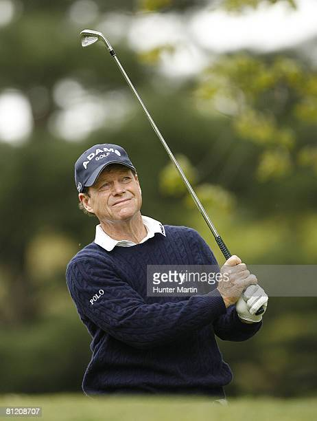 Tom Watson hits his tee shot on the sixth hole during the first round of the 69th Senior PGA Championship at Oak Hill Country Club East Course May 22...