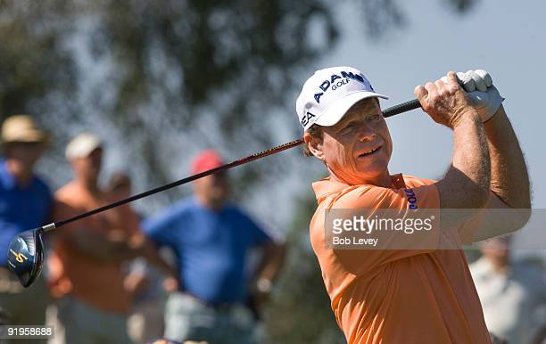 Tom Watson hits on the ninth hole during the first round of the Administaff Small Business Classic on October 16 2009 in The Woodlands Texas