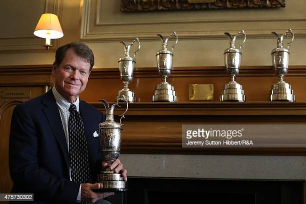 Tom Watson legendary American golfer stands in the Big Room of the Royal And Ancient Golf Course Club House with the 5 Open Championship Claret Jugs...