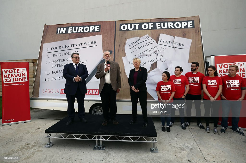 Tom Watson MP, Deputy Leader of the Labour Party; Labour leader, Jeremy Corbyn and Angela Eagle MP, Shadow First Secretary of State and Shadow Secretary of State for Business, Innovation and Skills, attend an event to unveil a new poster from the Labour In for Britain campaign to 'Remain' in the EU on June 7, 2016 in London, England. Campaigning continues by both sides ahead of the EU referendum on June 23rd.