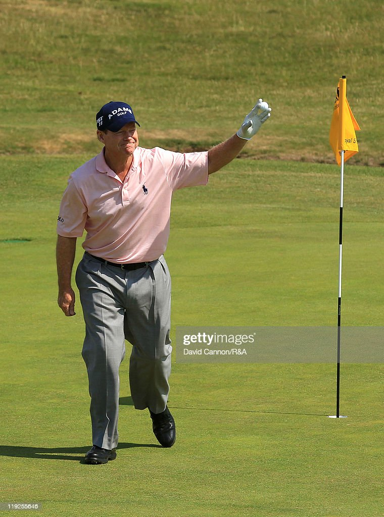 Tom Watson of the United States acknowledges the crowd after his hole in one at the sixth hole during the second round of The 140th Open Championship at Royal St George's on July 15, 2011 in Sandwich, England.