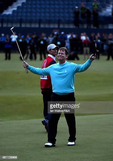 Tom Watson of the United States celebrates after putting on the 18th green during the second round of the 144th Open Championship at The Old Course...