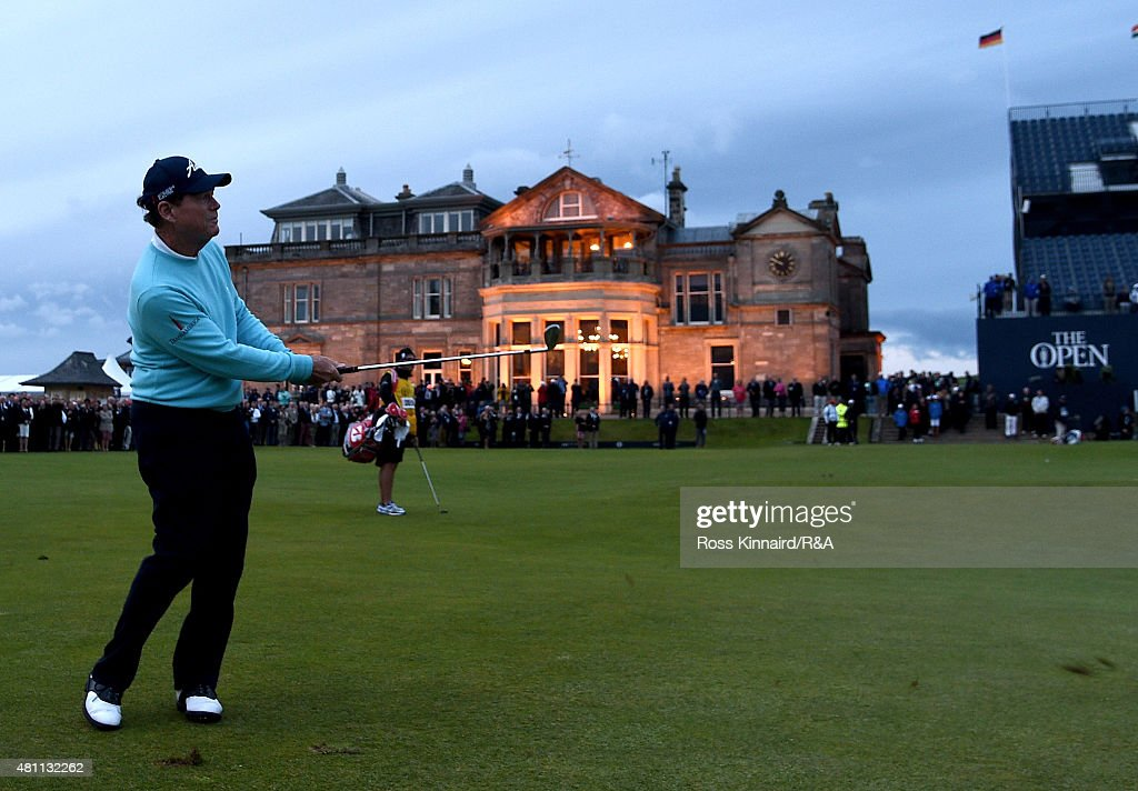 Tom Watson of the United States chips to the 18th green during the second round of the 144th Open Championship at The Old Course on July 17, 2015 in St Andrews, Scotland. This is Watson's last Open Championship.