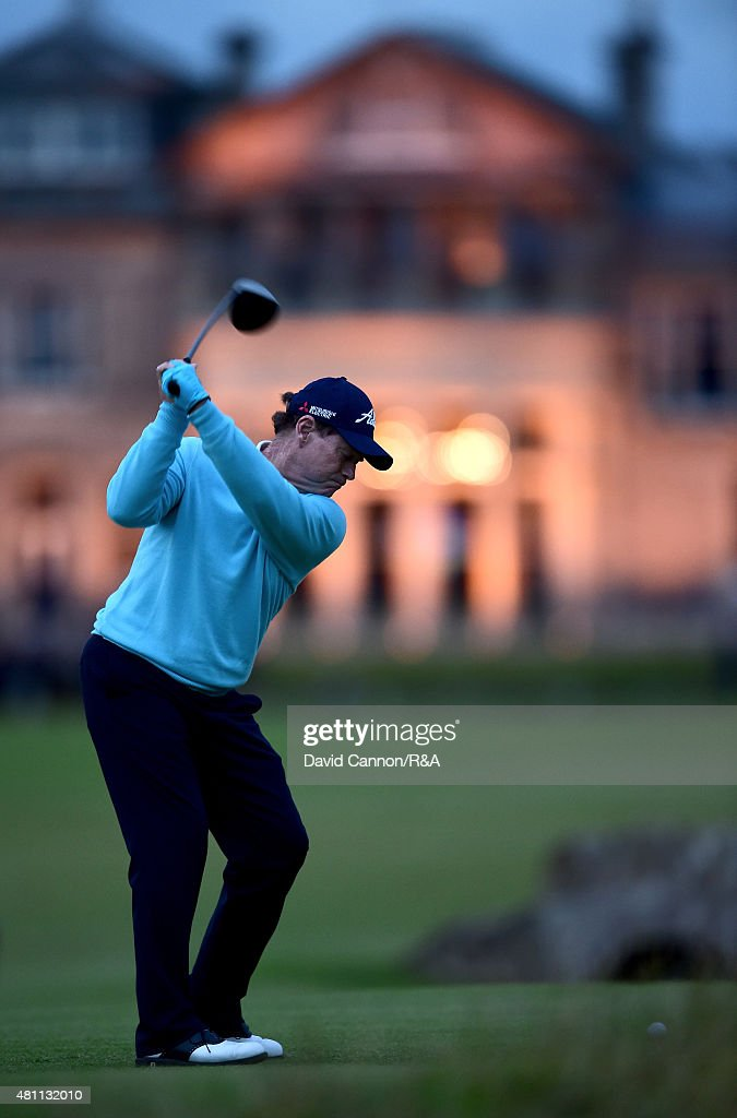 Tom Watson of the United States hits his tee shot on the 18th hole during the second round of the 144th Open Championship at The Old Course on July 17, 2015 in St Andrews, Scotland. This is Watson's final Open Championship.