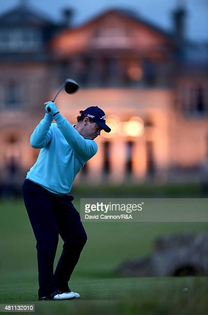 Tom Watson of the United States hits his tee shot on the 18th hole during the second round of the 144th Open Championship at The Old Course on July...