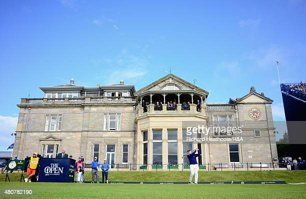 Tom Watson of the United States hits his tee shot on the first hole during the Champion Golfers' Challenge ahead of the 144th Open Championship at...