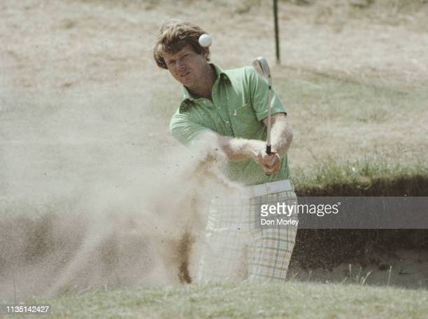 Tom Watson of the United States hitting out of a bunker during the 106th Open Championship on 9th July 1977 on the Ailsa Course at the Turnberry Golf...
