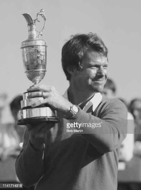 Tom Watson of the United States lifts the Claret Jug and celebrates winning the 111th Open Championship on 18th July 1982 at the Royal Troon Golf...