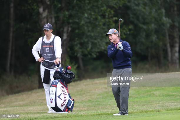 Tom Watson of the United States plays a shot during The Berenberg Gary Player Invitational 2017 at Wentworth Club on July 24 2017 in London England