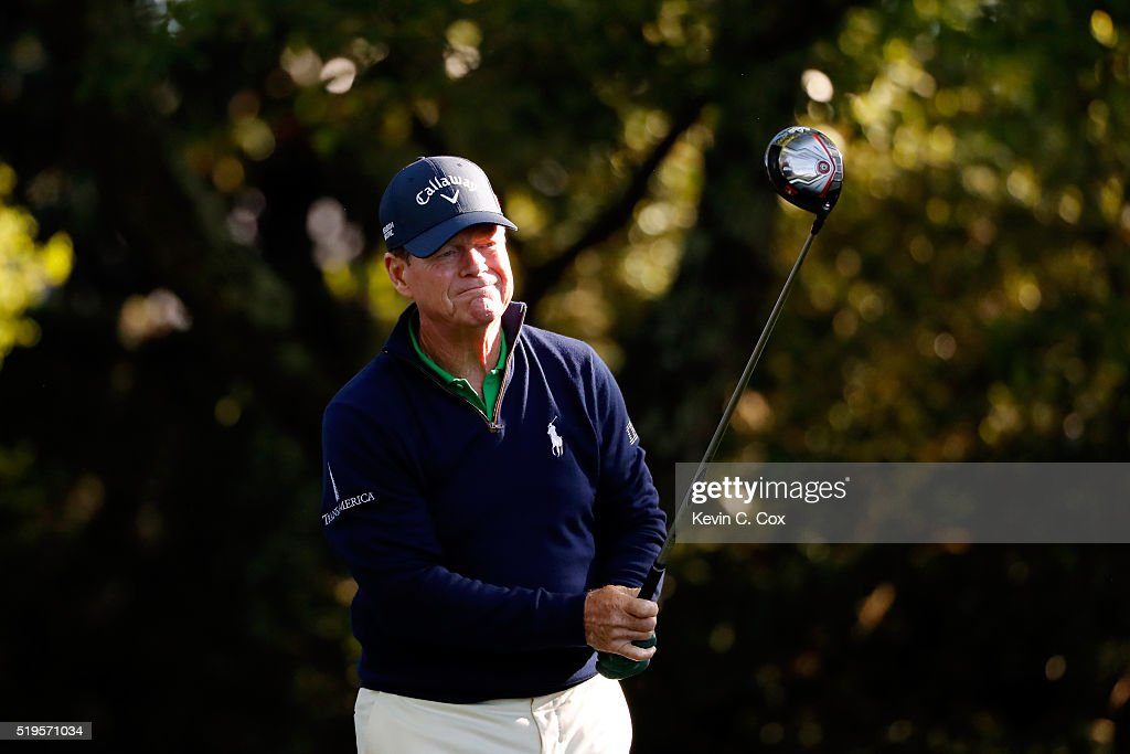 Tom Watson of the United States plays his shot from the second tee during the first round of the 2016 Masters Tournament at Augusta National Golf Club on April 7, 2016 in Augusta, Georgia.