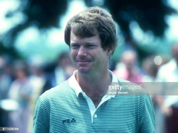 Tom Watson of the United States poses for a portrait during the Manufacturers Hanover Westchester Classic circa June 1982 at the Westchester Country...
