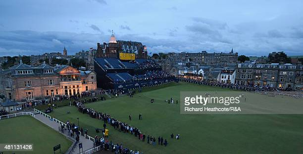 Tom Watson of the United States putts on the 18th green during the second round of the 144th Open Championship at The Old Course on July 17 2015 in...