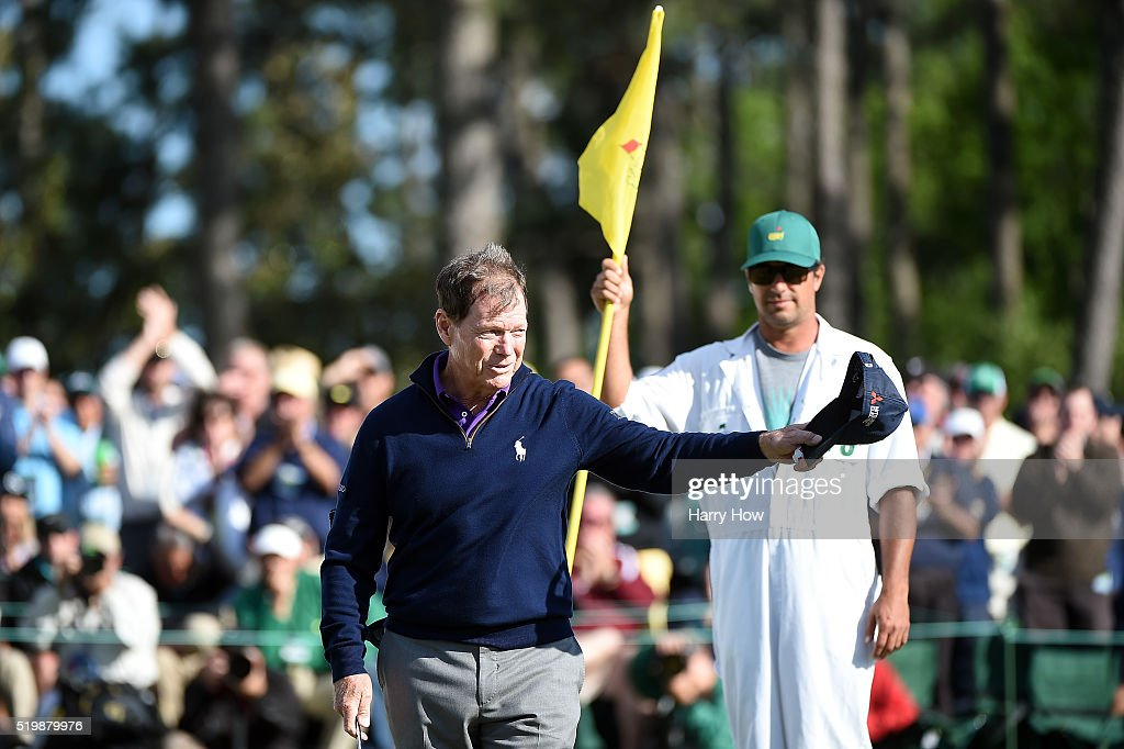 Tom Watson of the United States reacts on the 18th green during the second round of the 2016 Masters Tournament at Augusta National Golf Club on April 8, 2016 in Augusta, Georgia.