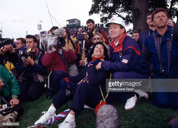Tom Watson of the United States Team and his wife Linda following the final holes of the Ryder Cup Golf Competition held at The Belfry Golf Club near...