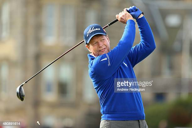 Tom Watson of the United States tees off on the 2nd hole during the first round of the 144th Open Championship at The Old Course on July 16 2015 in...