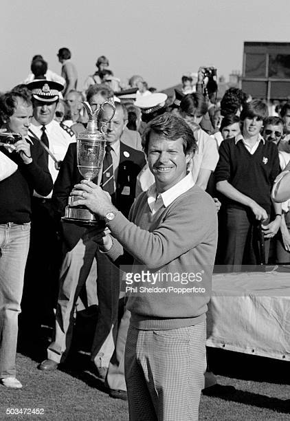 Tom Watson of the United States with the trophy after winning the British Open Golf Championship held at the Royal Troon Golf Club in Scotland on...