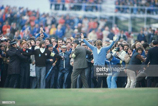 Tom Watson of the USA celebrates victory and winning the British Open Golf Championship 1980 held on July 20 1980 at the Muirfield Golf Course in...