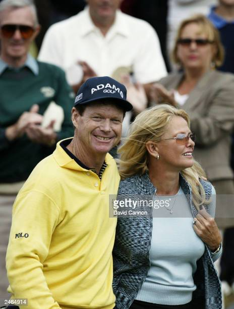 Tom Watson of the USA celebrates victory with his wife after winning the Senior British Open presented by Mastercard held on July 27, 2003 on the...