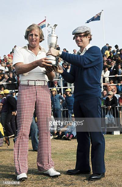 Tom Watson of the USA poses before the 18 hole play-off with Jack Newton of Australia during the 1975 Open Championship at Carnoustie on July 13,...