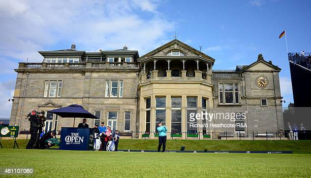 Tom Watson of the USA tee's off at the first during the second round of the 144th Open Championship at The Old Course on July 17 2015 in St Andrews...