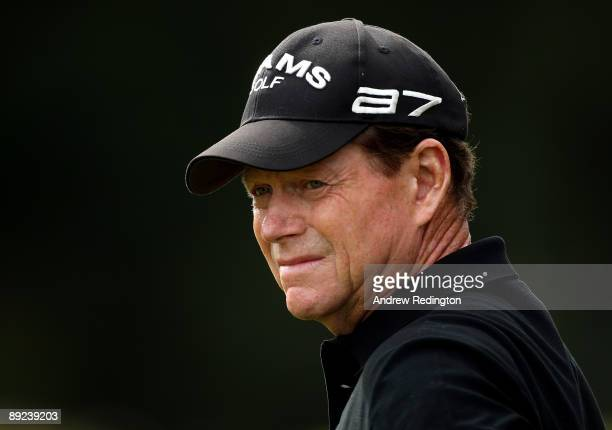 Tom Watson of the USA waits to play on the second hole during the second round of The Senior Open Championship presented by MasterCard held on the...