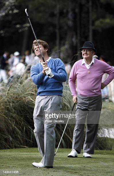Tom Watson of the USA with Byron Nelson of the USA watching during the 1981 Masters Tournament at Augusta National Golf Club on April 12 1981 in...