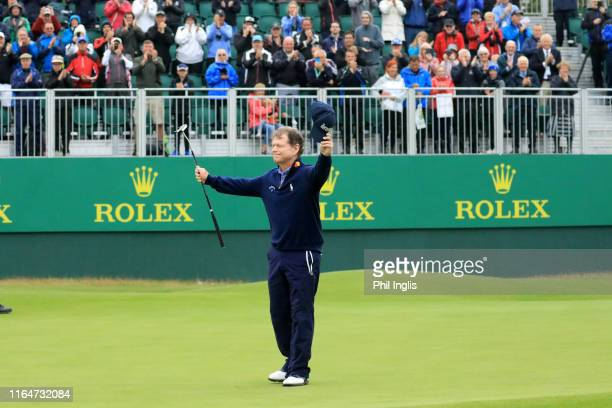 Tom Watson of United States in action during the final round of the Senior Open presented by Rolex played at Royal Lytham St Annes on July 28 2019 in...