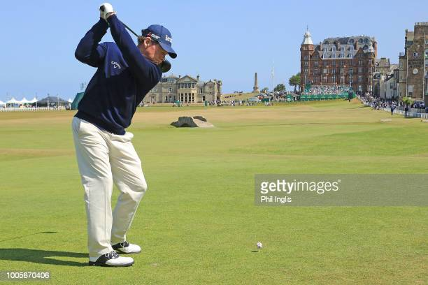 Tom Watson of United States on the 18th tee during the first round of the Senior Open presented by Rolex played at The Old Course on July 26 2018 in...