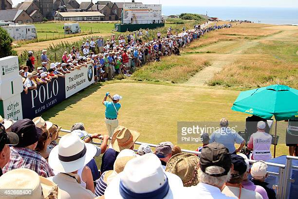 Tom Watson of United States plays the 1st hole during the second round of the Senior Open Championship played at Royal Porthcawl Golf Club on July...