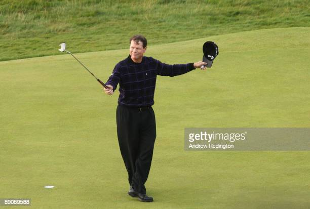 Tom Watson of USA acknowledges the crowd on the 18th green after completing his 1 over Par round of 71 during round three of the 138th Open...