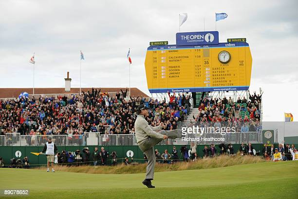 Tom Watson of USA celebrates holing a birdie putt on the 18th green during round two of the 138th Open Championship on the Ailsa Course Turnberry...