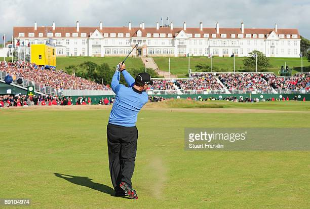 Tom Watson of USA hits his approach to the 18th green during the final round of the 138th Open Championship on the Ailsa Course Turnberry Golf Club...