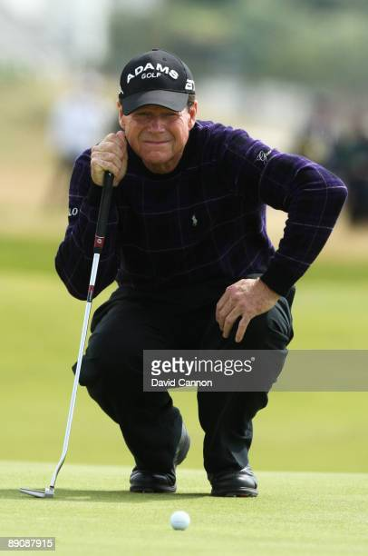 Tom Watson of USA lines up a putt on the 2nd hole during round three of the 138th Open Championship on the Ailsa Course, Turnberry Golf Club on July...