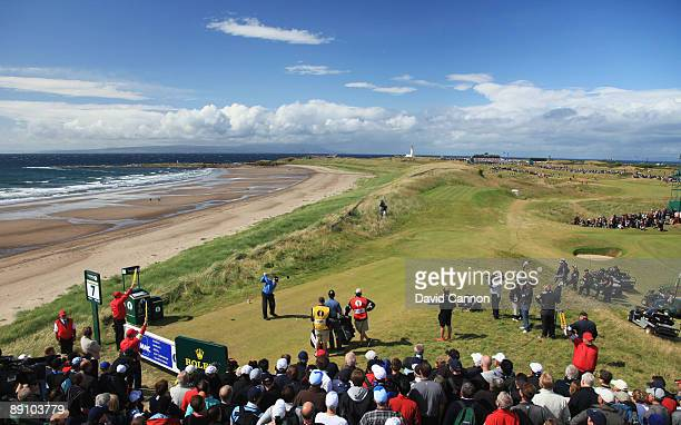 Tom Watson of USA tees off on the 7th hole during the final round of the 138th Open Championship on the Ailsa Course Turnberry Golf Club on July 19...